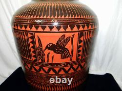 18 Navajo Etched Hummingbird & Flower Black Gloss Glazed Red Clay pottery vase