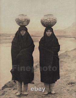 1900/72 EDWARD CURTIS Folio NATIVE AMERICAN INDIAN Zuni Girls Pottery Photo Art