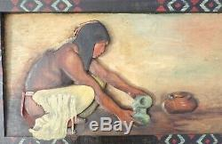 1921 ORIGINAL NATIVE AMERICAN INDIAN POTTERY CARVED PAINTING by E. L. PORTER
