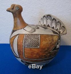 1950s ACOMA INDIAN Pottery DELORES SANCHEZ polychrome LARGE TURKEY FIGURE