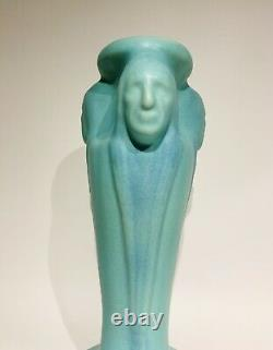 1985 Van Briggle Pottery Native American Indian Heads Turquoise Blue 12 Vase
