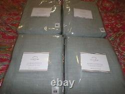 4 Pottery Barn Emery Linen Cotton Blackout Lined Drapes, 96 Blue Dawn, New