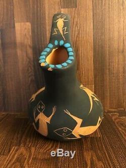6.5 Acoma Pueblo Pottery Pot Vase Clara KUUTIMAITSA Santiago Native American