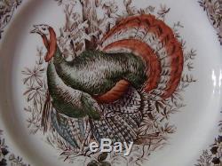 6 Johnson Bros. Wild Turkeys Native American Dinner Plates