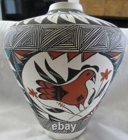 ACOMA PUEBLO HAND PAINTED POTTERY LARGE VASE by LEE RAY-NATIVE AMERICAN