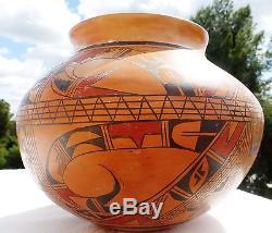 AMAZING Signed Marcella Kahe American Indian Hopi Tewa Pottery Large VASE Bowl