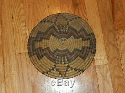 ANTIQUE, NATIVE AMERICAN, HOPI, ROUND DANCE, COILED, BASKET, TRAY. WithHANDLE, 12 DIA
