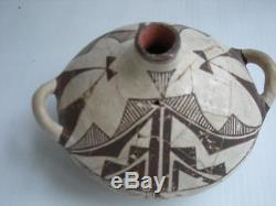 Antique / Vintage Acoma Indian Pottery Flat Form Canteen Hand Coiled Pot
