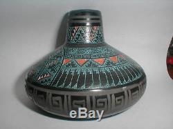 Authentic Marvin Blackmore Native American Pottery $1290 Hand Etched Vase