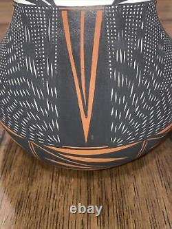 Acoma NM Native American Pottery Wedding Vase Signed H Poncho 8 Tall