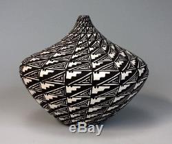 Acoma Pueblo Native American Indian Pottery Black & White Vase Sandra Victorino
