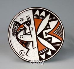 Acoma Pueblo Native American Indian Pottery Kokopelli Plate Marilyn Ray