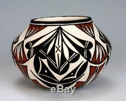 Acoma Pueblo Native American Indian Pottery Rain Cloud Vase Berleen Estevan