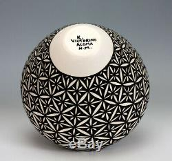 Acoma Pueblo Native American Pottery Flower Olla Katherine Victorino