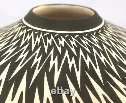 Acoma Pueblo Pottery, LIGHTNING DAZZLER SEED POT BOWL, Whiteware, Paula Estevan
