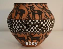 Acoma Pueblo Red Heartline Native American Pottery Vessel By Mildred Antonio