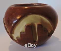 Agapita Tafoya (1904-1959) petite carved redware Native American Santa Clara pot