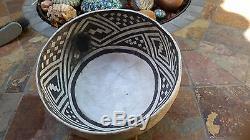 Ancient Anasazi Snowflake Black On White Pottery Bowl