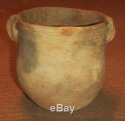 Ancient Native American Indian Caddo Pottery Strap Handled Brushed Jar Nice