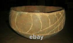 Ancient Native American Indian Pottery Nice Huge TX Caddo Glassell Engraved Bowl