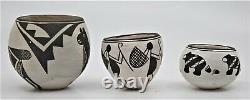 Anne, Mary, Emma, Lewis Native American Pottery Miniature Pots Vessels Acoma NM