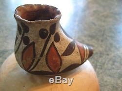 Antique 1920 Native American art pottery moccasin miniature Hopi-Isleta pueblo