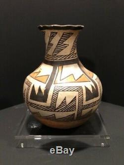 Antique 19th Century Native American Pueblo Acoma Polychrome Bottle Form Vase