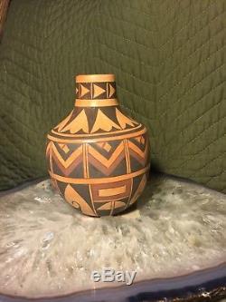Antique And Vintage Native American Indian Signed Matt K. Walpi Pottery Vase Pot