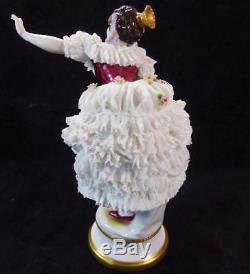 Antique German Volkstedt Porcelain Lace Figurine Dresden Dancer Ballerina Figuri
