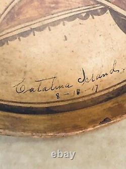 Antique HOPI NATIVE AMERICAN INDIAN BOWL FROM 1917 Catalina Island