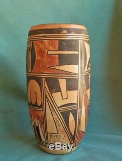 Antique Hopi Indian Pottery Vase Old Hopi Tall Cylider Vase Nampeyo family Pot
