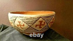 Antique Isleta Pueblo Pottery Bowl Whirling Logs Native American Indian
