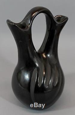 Antique Madeline Tafoya Santa Clara Pueblo Indian Black Pottery Wedding Vase NR