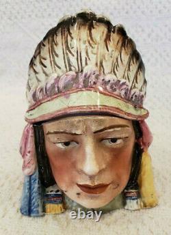 Antique Majolica Figurative Tobacco Head Jar Native American with Headdress 7075