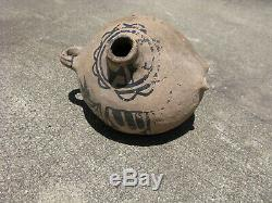 Antique Native American Cochiti Pueblo pottery canteen hand made clay early 20th