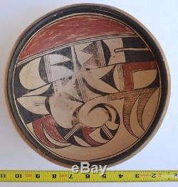 Antique Native American Indian Hopi Pottery Bowl Polychrome 11 wide