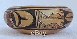 Antique Native American Indian Hopi Pottery Bowl Polychrome 7 1/2 wide