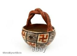 Antique Native American Indian Isleta Pueblo Red Geometric Pottery Basket