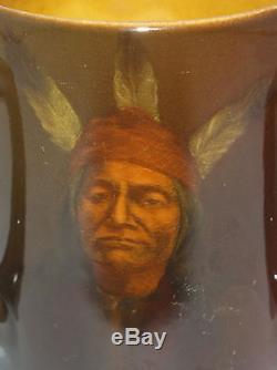 Antique Rookwood Loving Cup Mug Indian Native American Portrait O. Geneva Reed