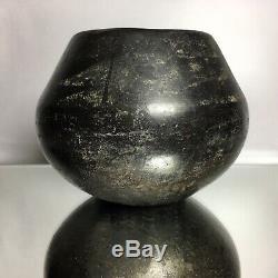 Antique San Ildefonso Black-On-Black Pottery Jar Native American Maria Martinez