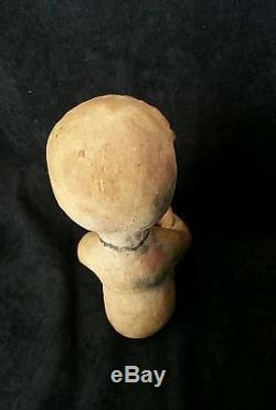 Antique Tesuque Pueblo Indian Rain God Pottery Figurine A
