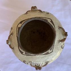 Antique Zuni Native American Pottery HEARTLINE DEER FROG Dimensional Effigy Pot