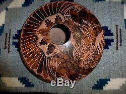 Auth. Native American Navajo Large Incised Elk Horse Hair Pottery by Hanna Jay