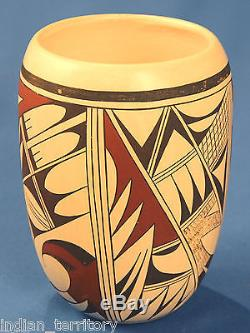 Authentic Hopi Indian Cylindrical Frog Woman Pottery by Joy Navasie 8 ht