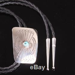 Authentic Navajo turquoise sterling silver. 925 stampwork Bolo Tie
