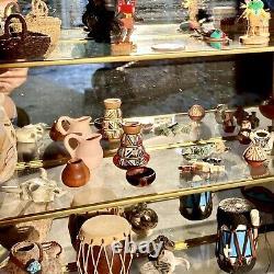 BEST Lot Vintage Native American Pueblo Pottery & Miniatures + Glass Curio Case