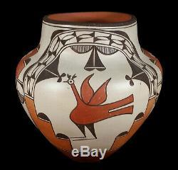 Big Vintage Zia Pueblo Native American Indian Pottery Olla Jar Vase 10 3/8 Tall