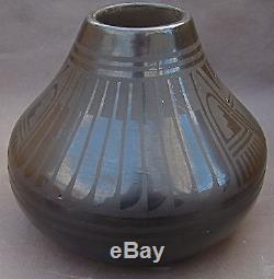 Black On Black San Ildefonso Pueblo Pottery Jar Or Vase 1955 Blue Corn Feather