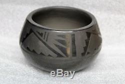 Blue Corn Calabaza San Ildefonso Pueblo Blackware Pottery Pot Wings Design