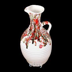 Cherokee Pottery Native American Pitcher 1980 Drip Glaze Ribbed Vintage Oklahoma